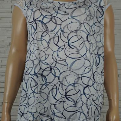 Tee-shirt imprimé géométrique rond sans manches