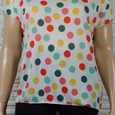 Tee-shirt col V imprimé rond multi-couleurs