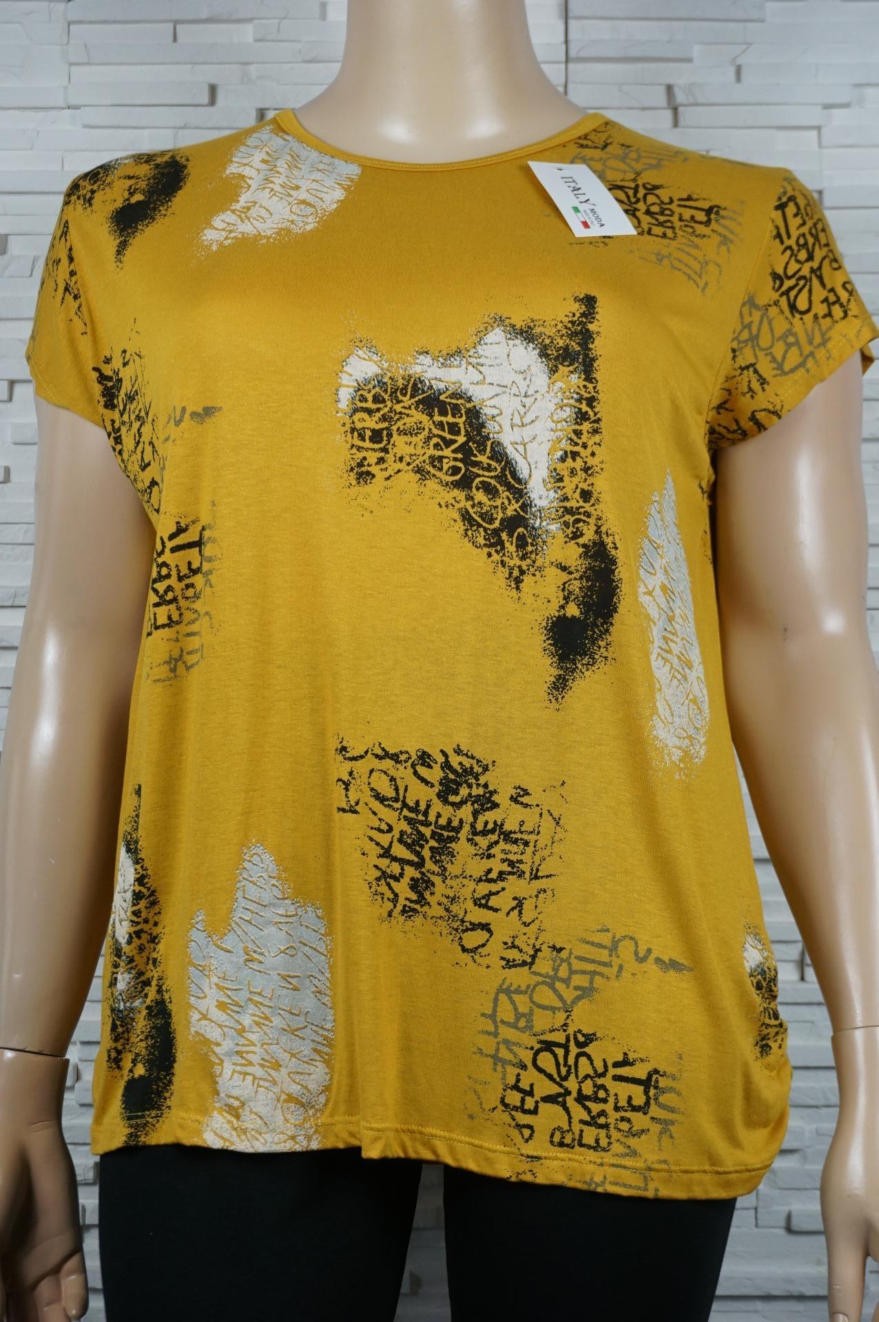 tee-shirt imprimé écritures moutarde