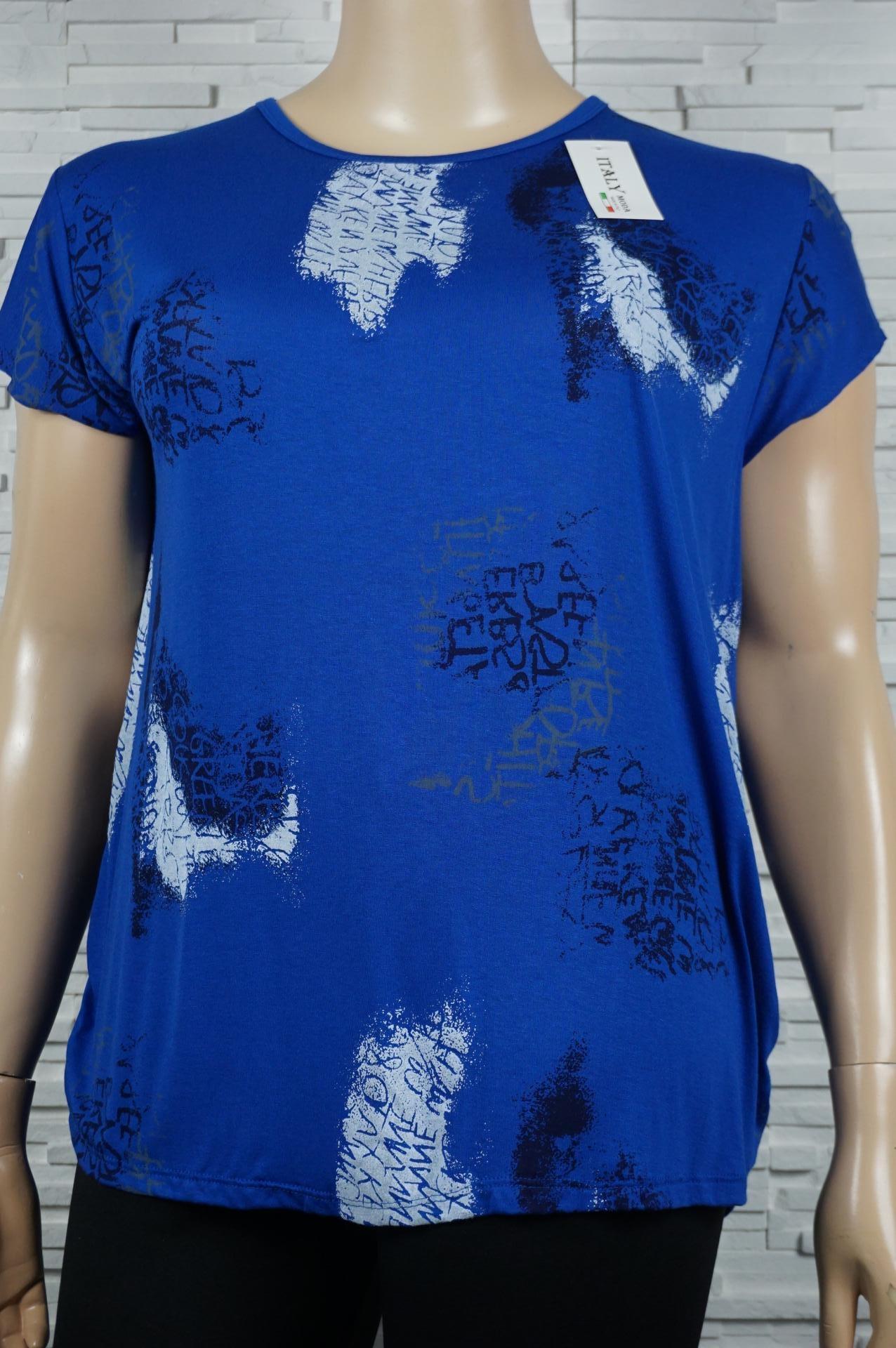 tee-shirt imprimé écritures bleue