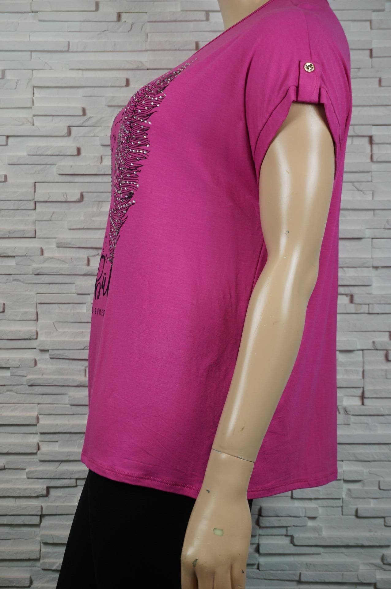 tee-shirt long à 3 plumes en strass