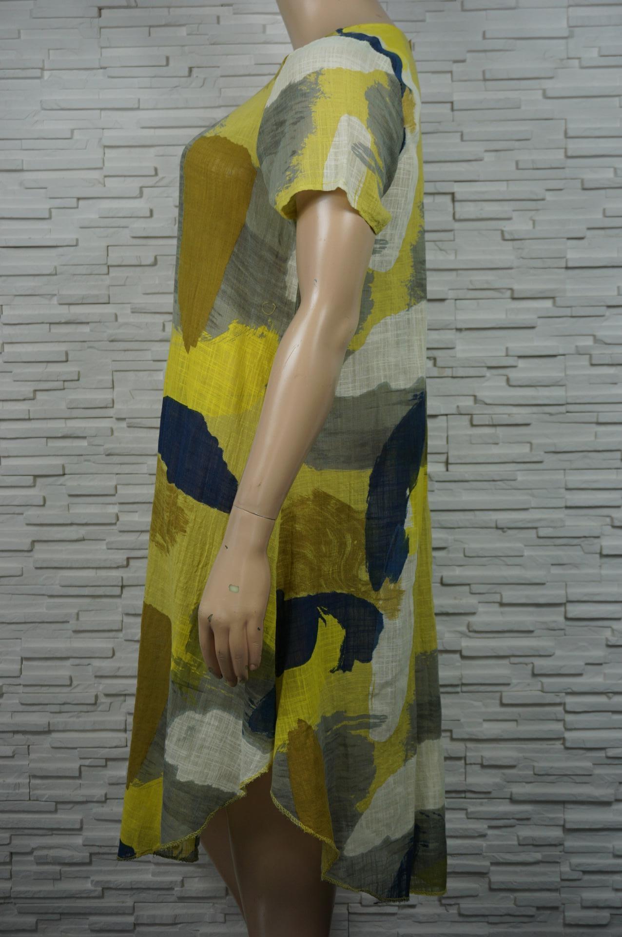 Robe longue lin coton imprimé militaire.