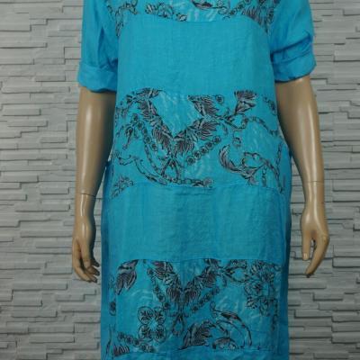 Robe longue lin à bandes imprimé foulard.