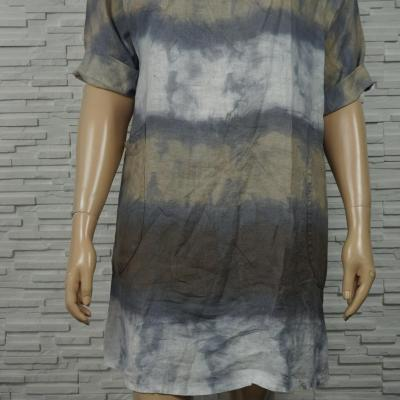 Robe 3/4 en lin coton  tie and dye.