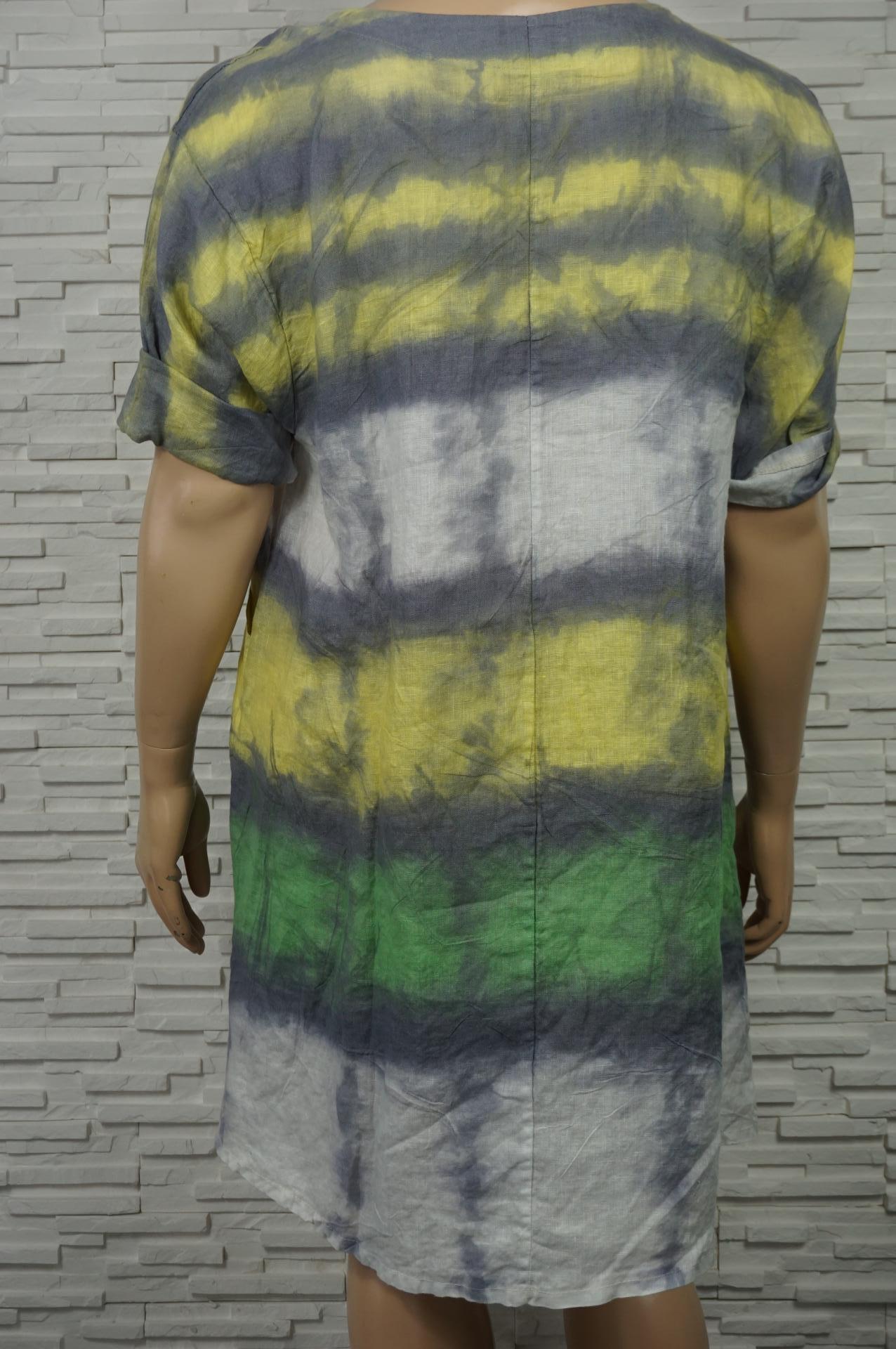 Robe 3/4 en lin coton  tie and dye.