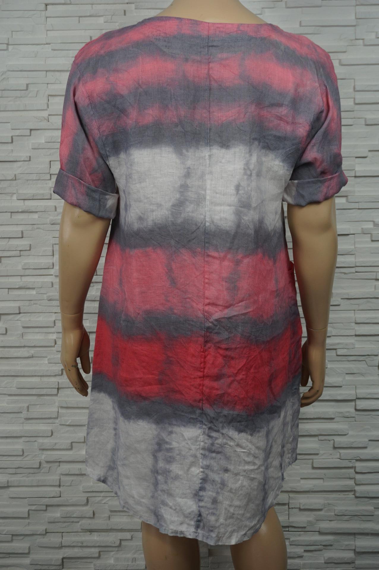 Robe 3/4 en lin coton  tie and dye .