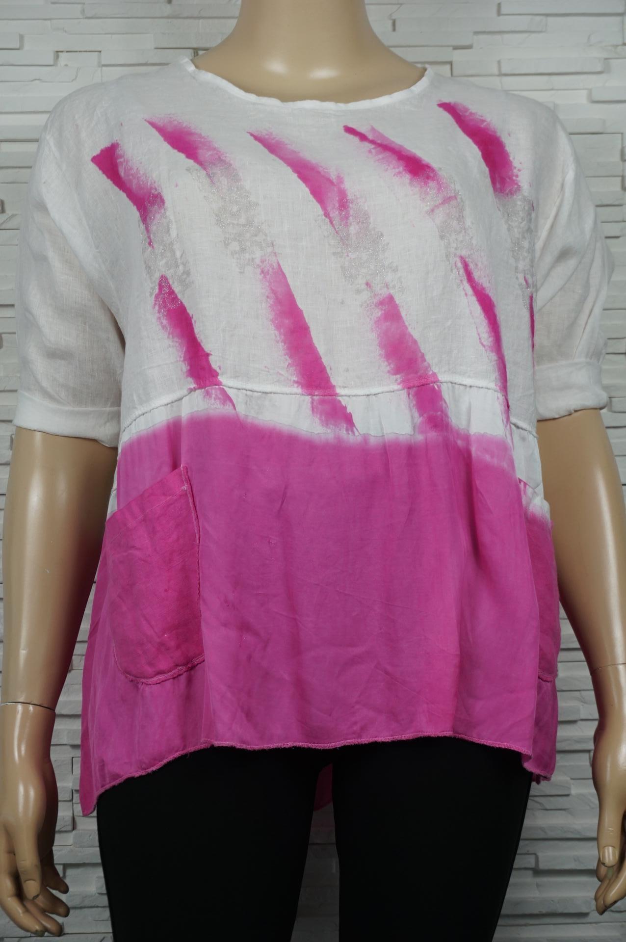 Blouse en  lin  tie and dye fuschia avec poches
