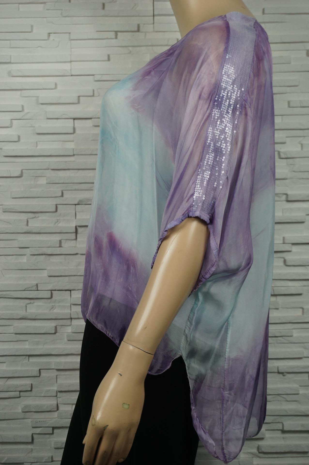 Tunique en soie Tie and  dye et à sequin.