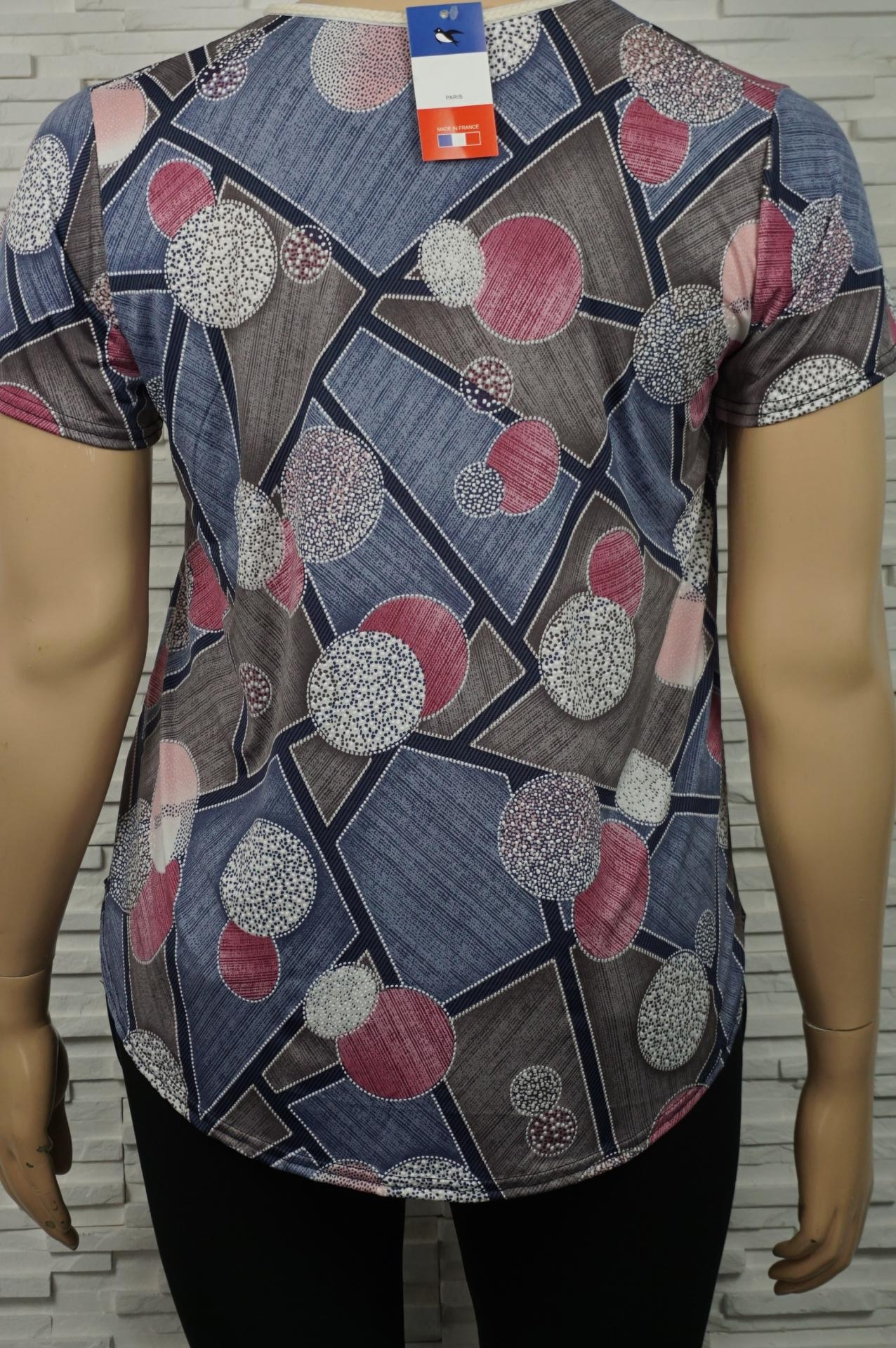 Tee-shirt bohême imprimé géométrique.