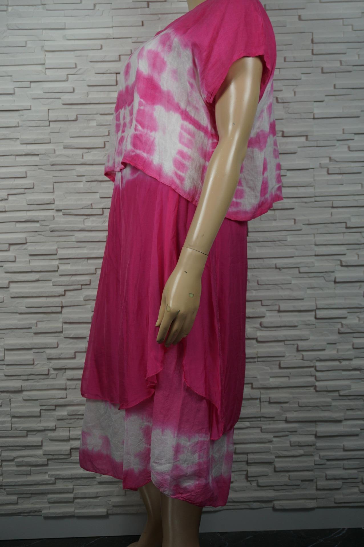 Robe longue lin/soie faux 2 pièces à volants.