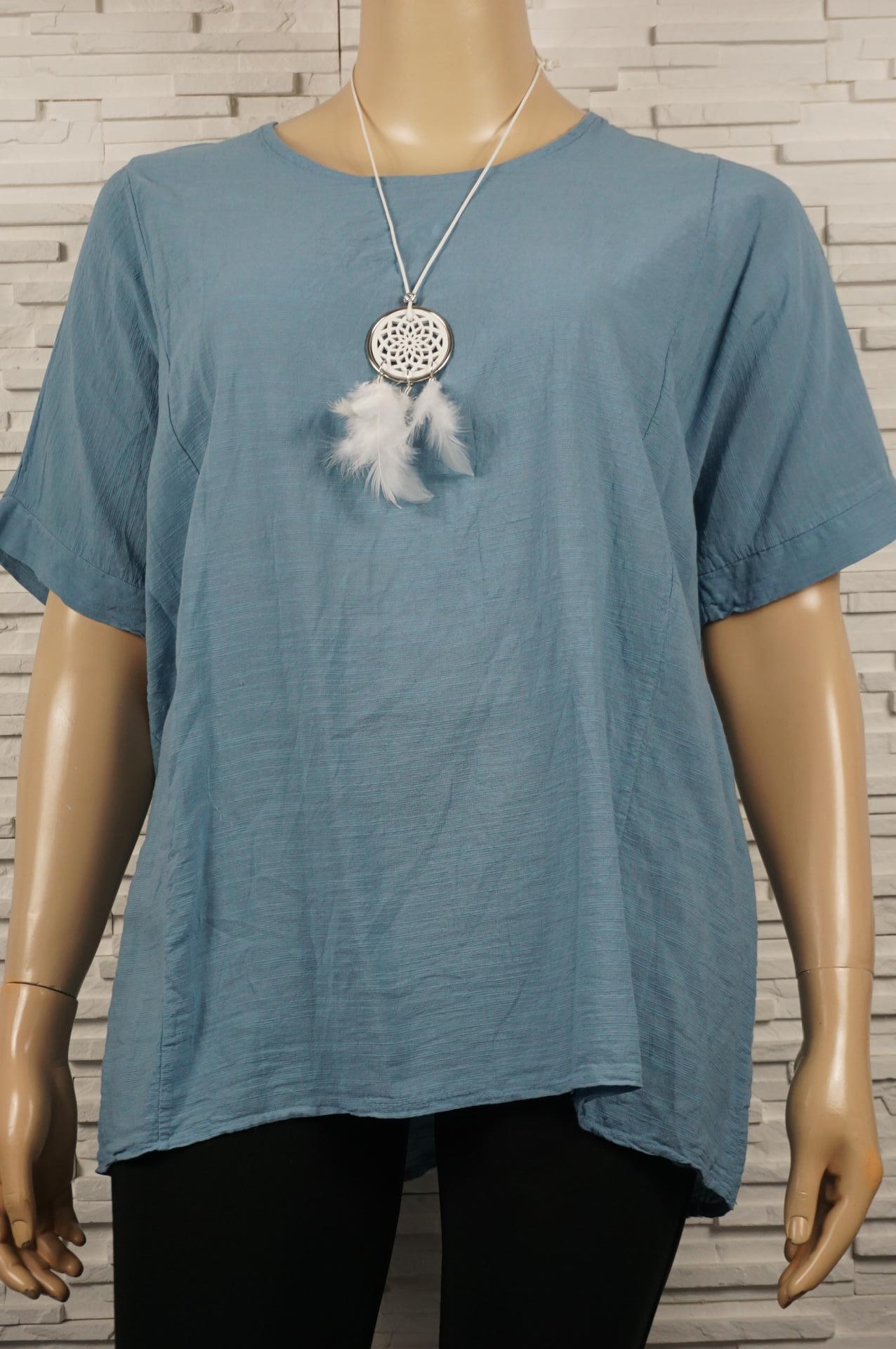 Tunique unie, coton,  large, avec collier et manches courtes. .