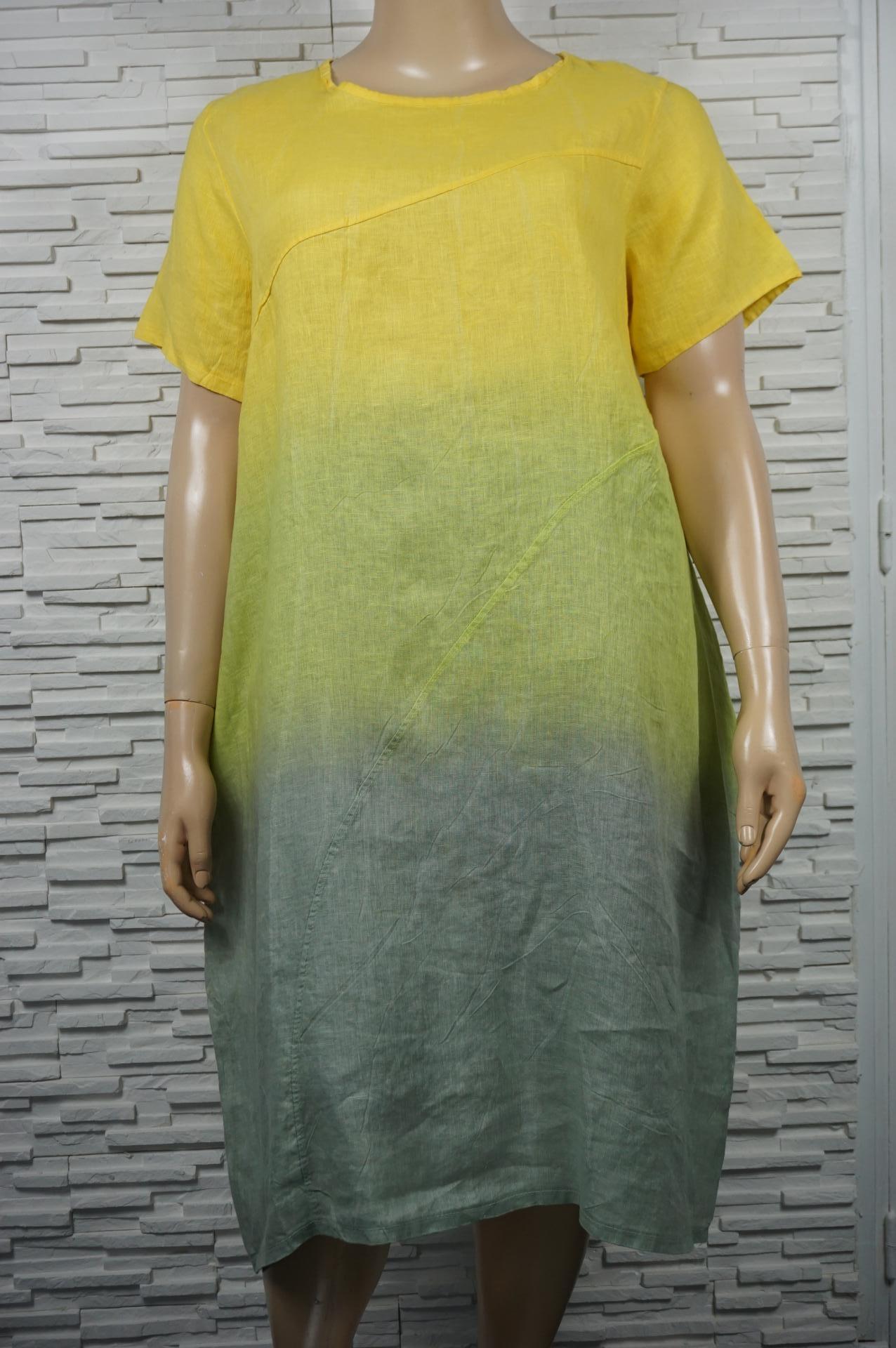 Robe longue droite en lin, Tie and dye.