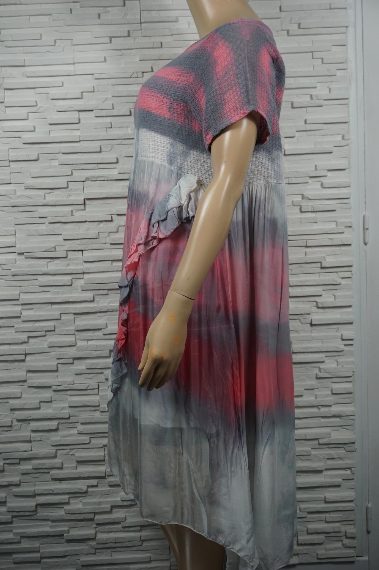 Robe longue soie Tie and dye, bi-matière.