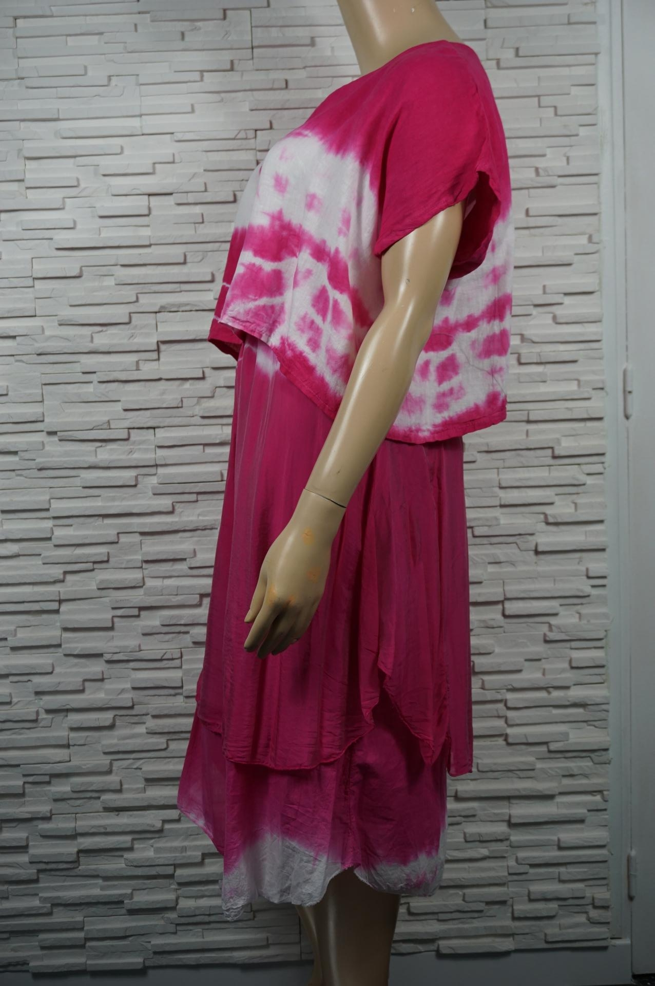 Robe longue lin soie tie and dye, faux 2 pièces.