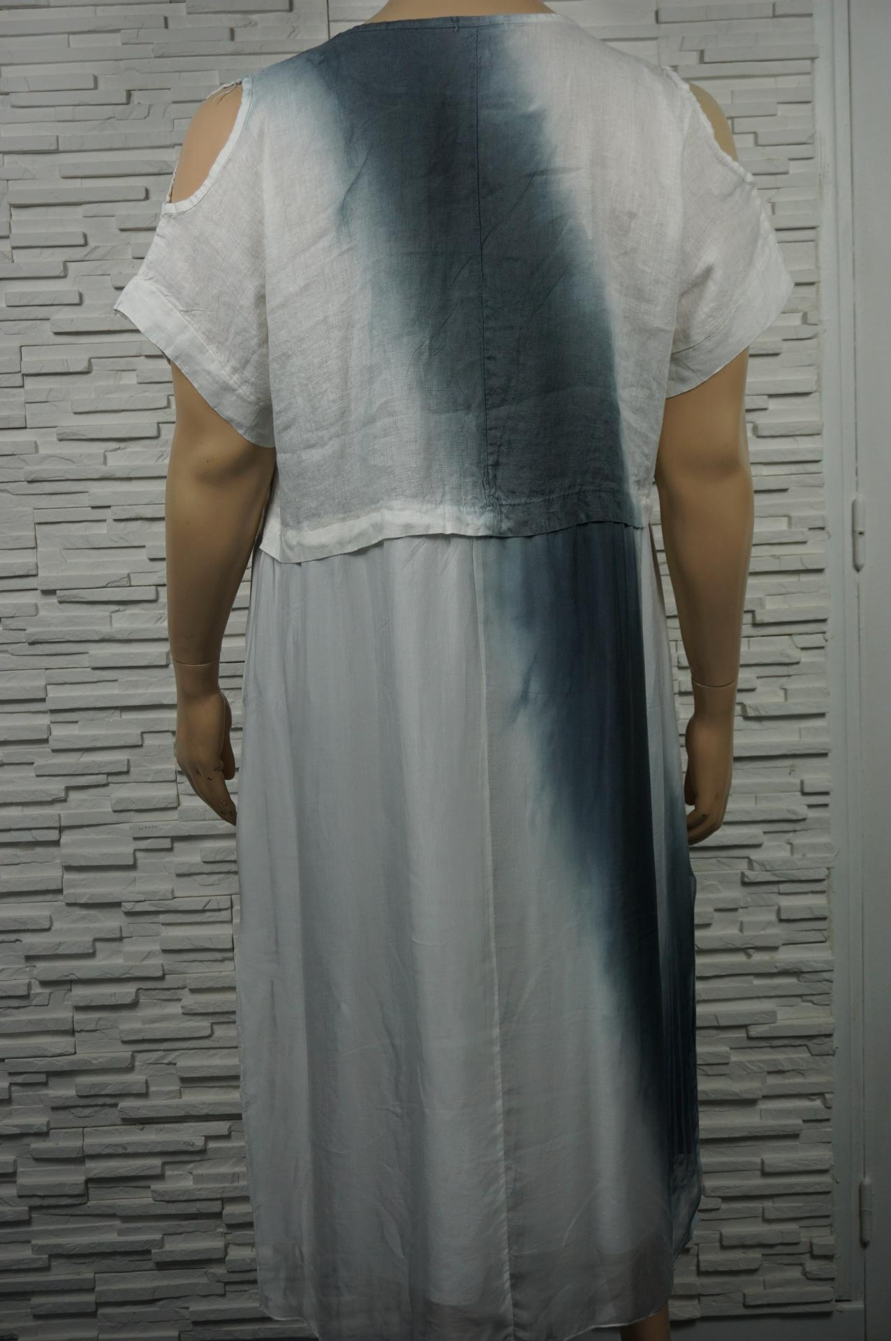 Robe longue lin soie tie and dye, épaules dénudées.
