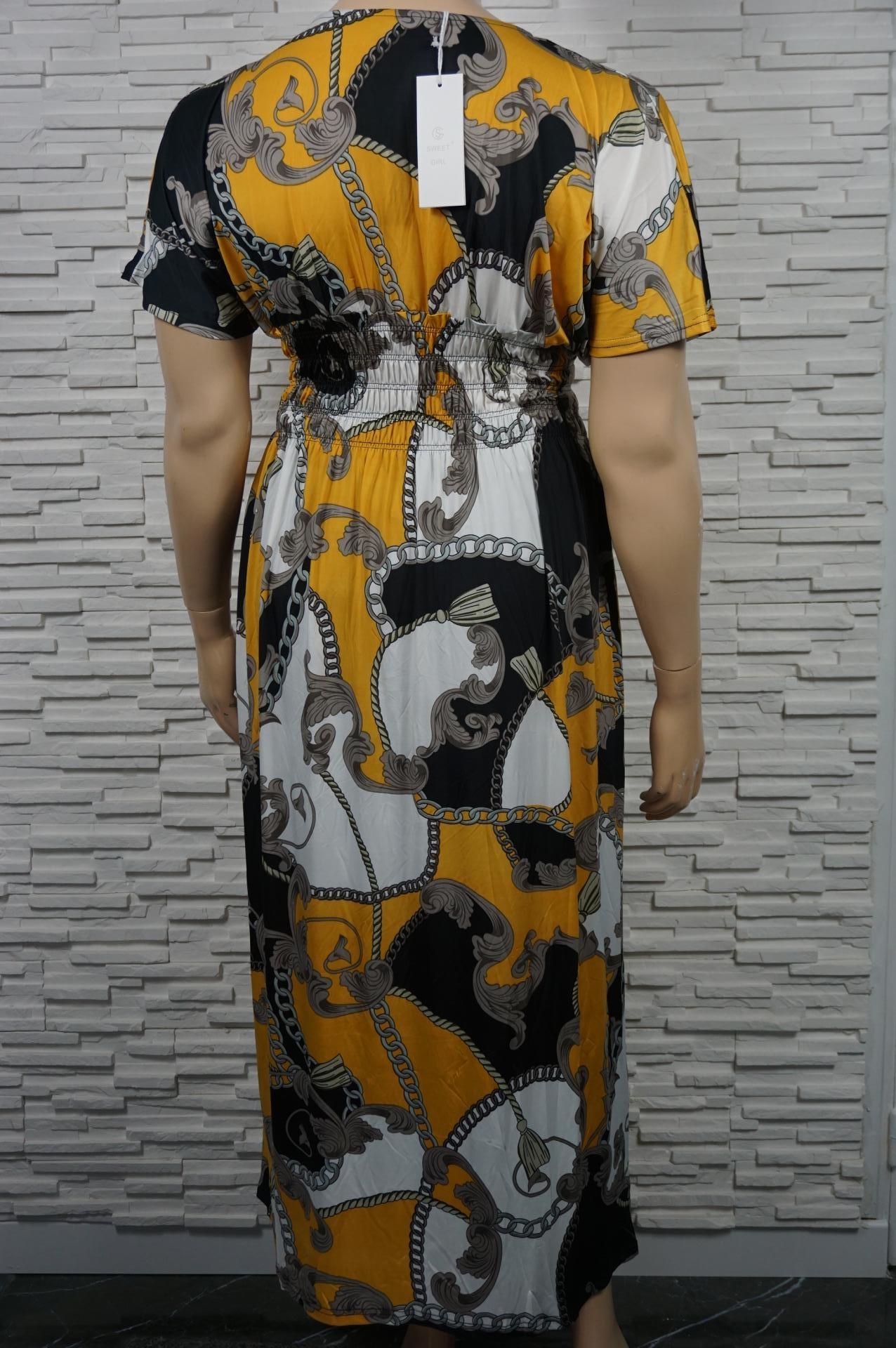 Robe longue imprimé foulard en lycra.
