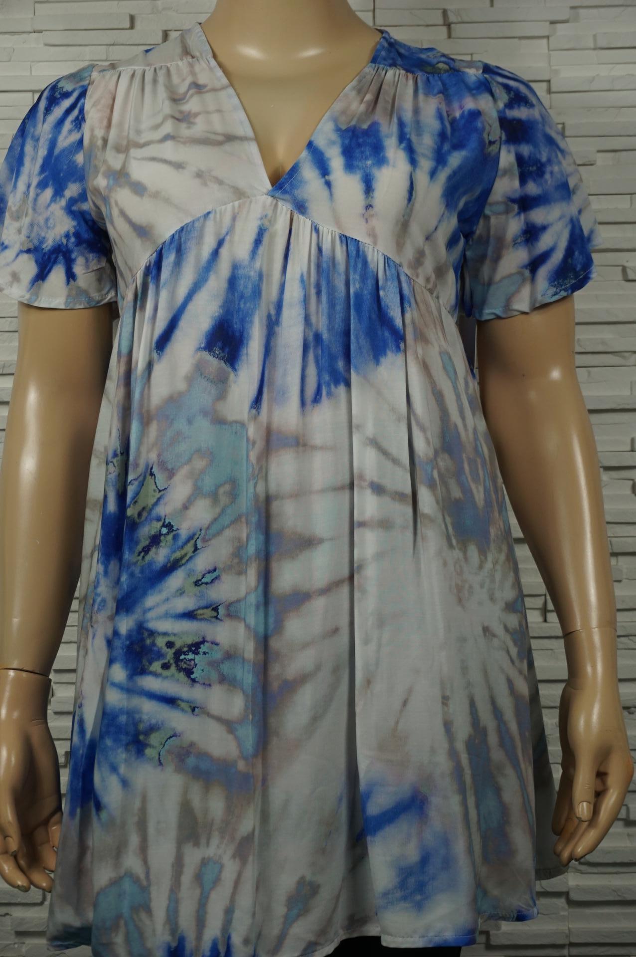 Robe imprimé dégradé Tie and Dye , col V.