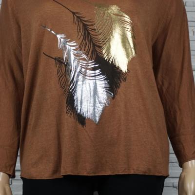 Tunique ou pull léger à plumes colorés.