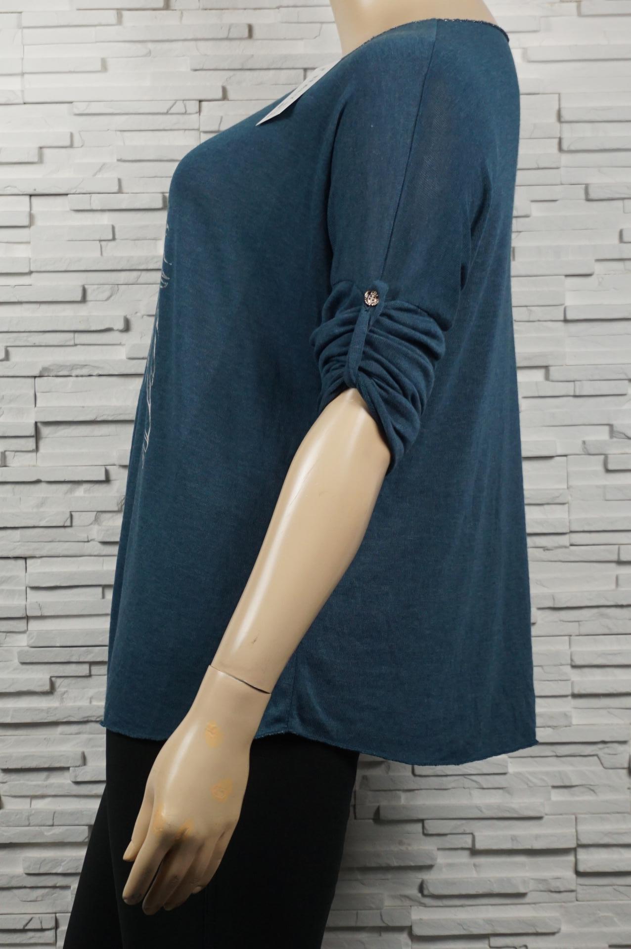 Pull léger / tunique coton à plumes argentés.