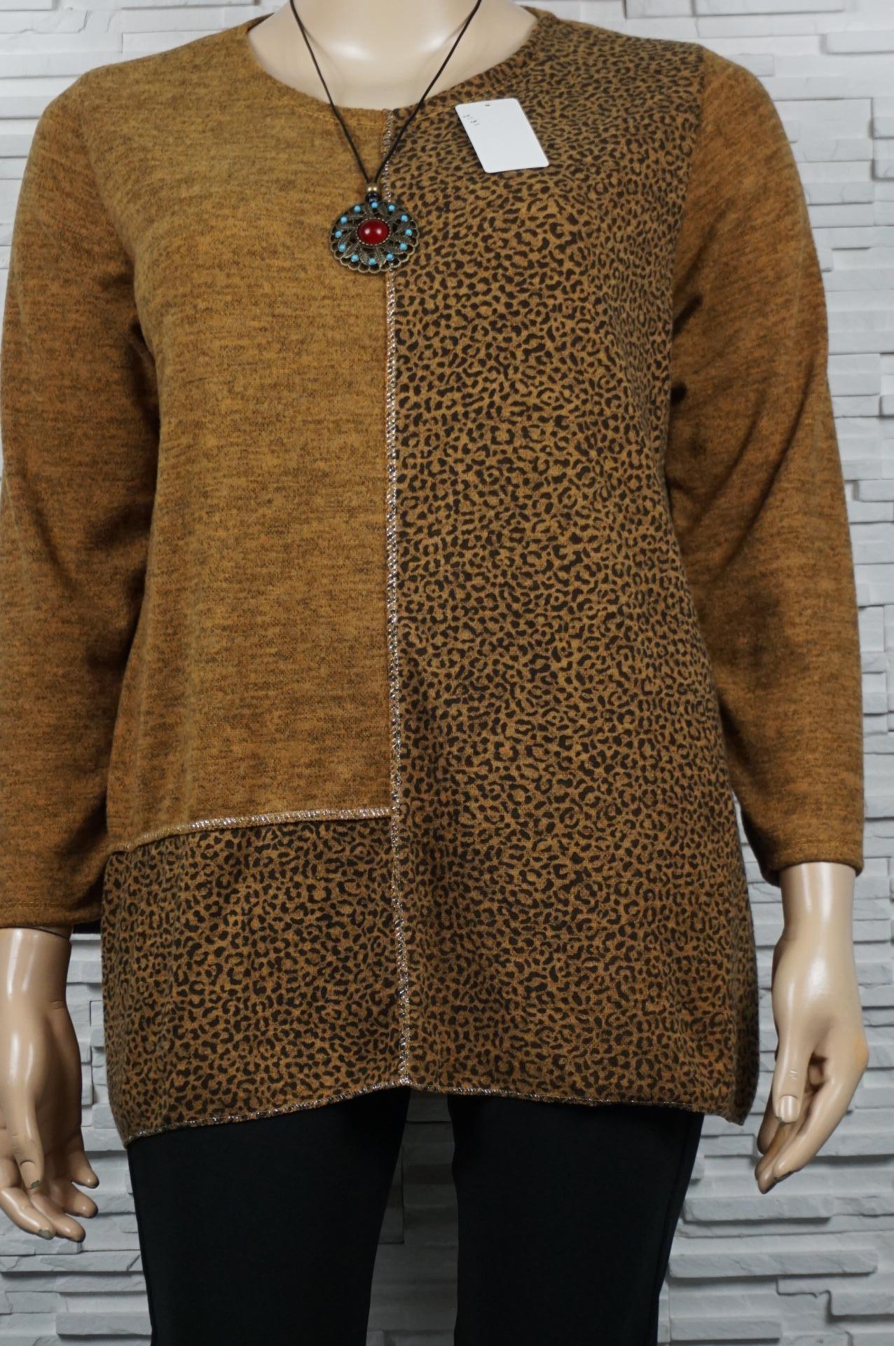 Tunique bi tons unie et léopard avec collier.