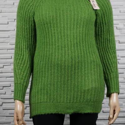 Gros pull laine mélangé, long et col roulé.