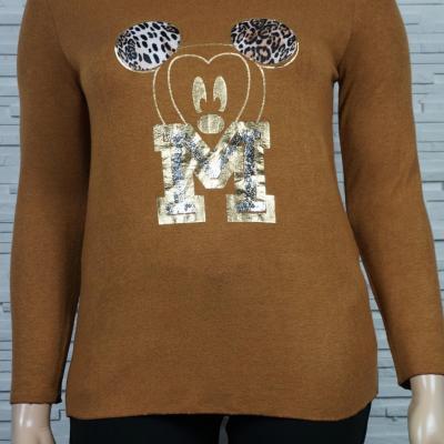 Pull léger ou tunique à tête de Mickey dorée.