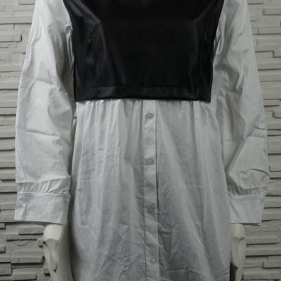 Chemise longue avec faux débardeur en simili noir.