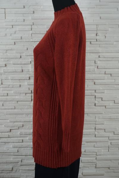 Pull long avec tresses en reliefs col chemine et fendu s 1