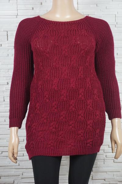 Pull tricote long torsades et a motifs geometriques 292