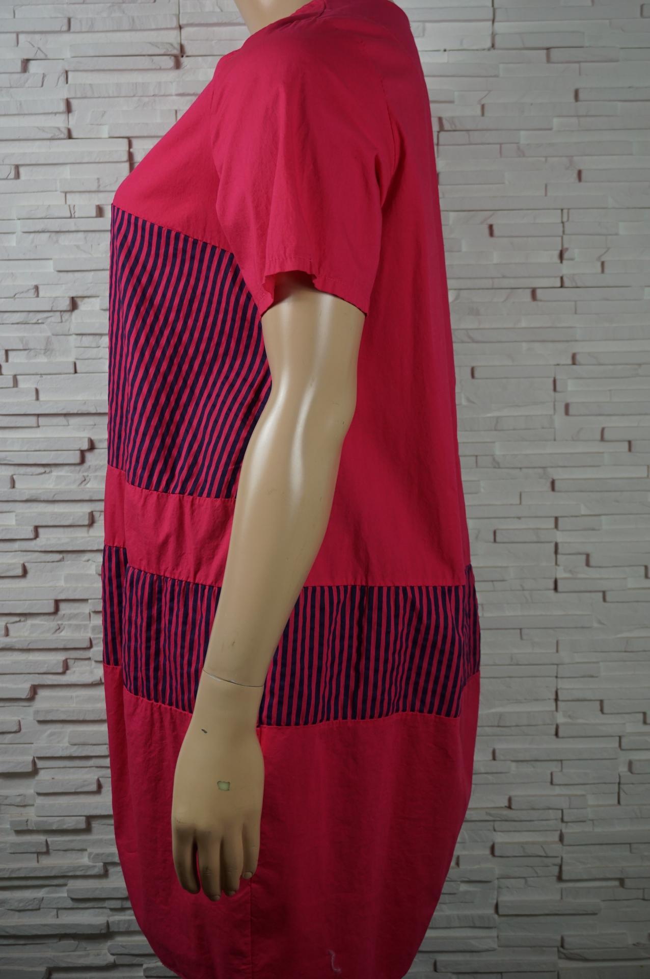 Robe coton uni rayures2