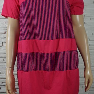 Robe coton uni rayures3