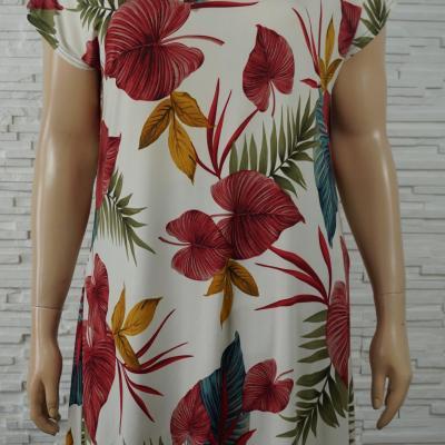 Robe tunique longue lycra fleurs1