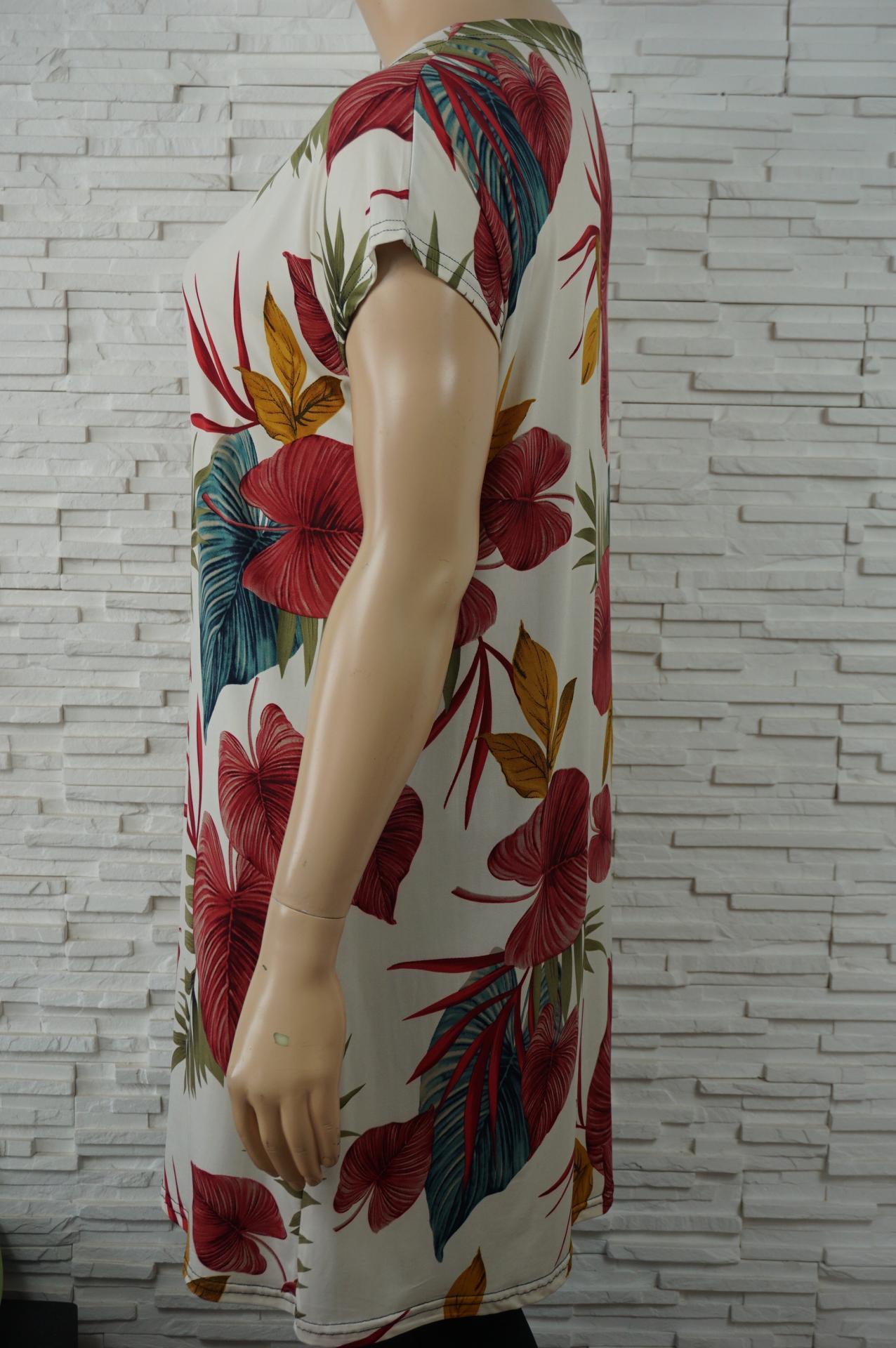 Robe tunique longue lycra fleurs2
