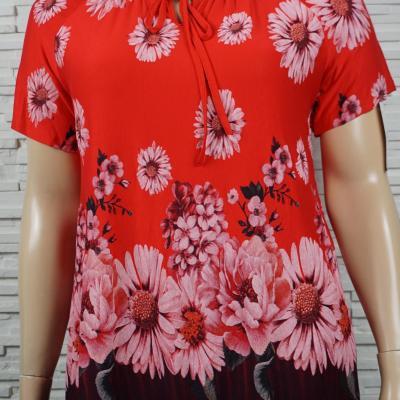 T shirt a cordon et imprime florales1
