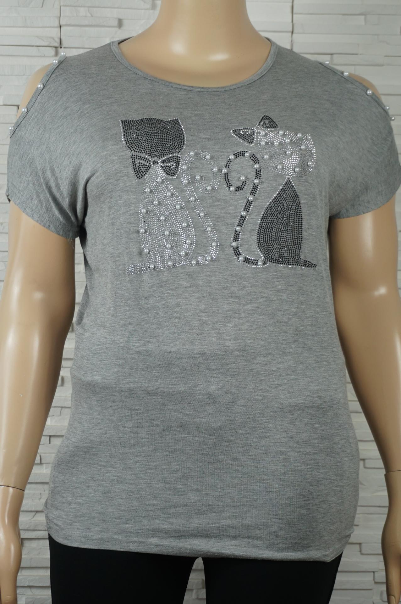 T shirt chats a strass et perles1