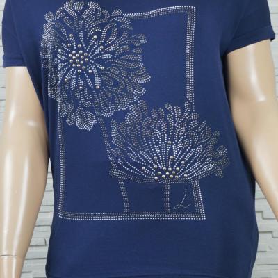 T shirt coton a fleurs en strass1