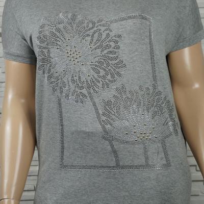 T shirt coton a fleurs en strass3