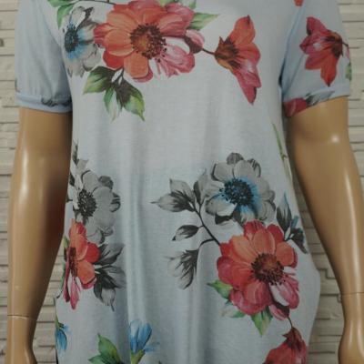 T shirt long imprime fleurs1