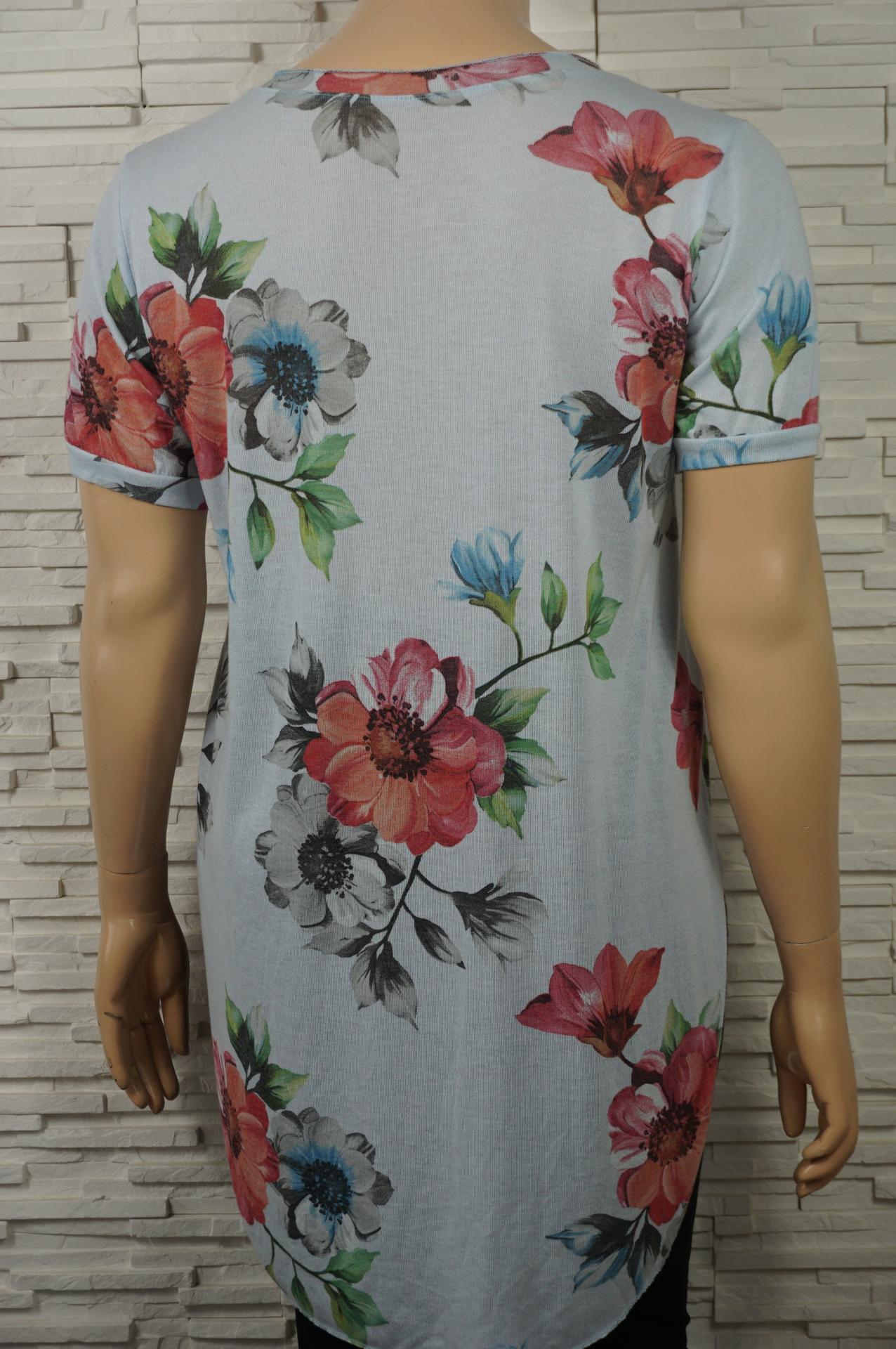T shirt long imprime fleurs2