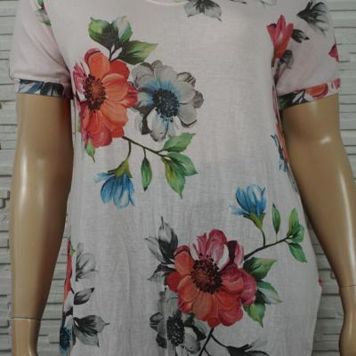 T shirt long imprime fleurs3