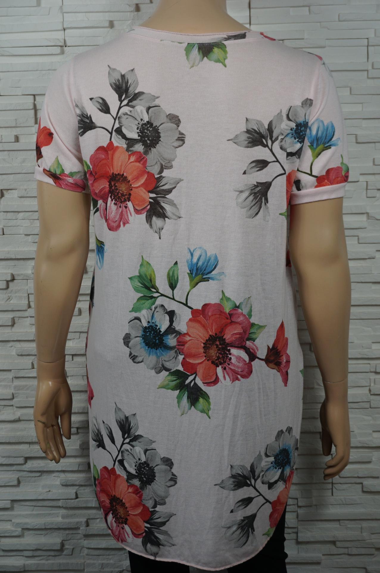 T shirt long imprime fleurs4
