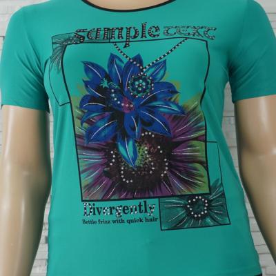 T shirt uni a fleurs1