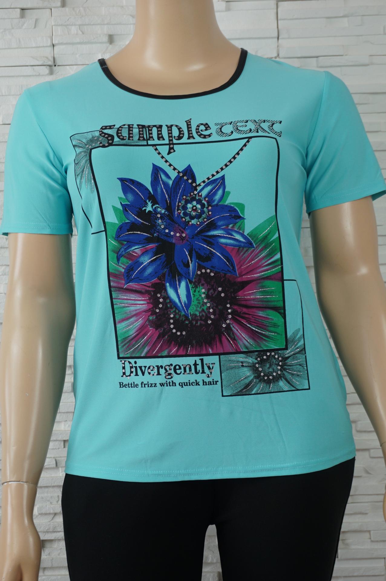 T shirt uni a fleurs6