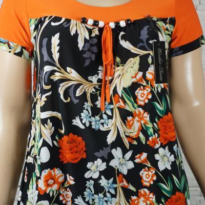 Tunique tee shirt en lycra avec perles imprime fleurs1